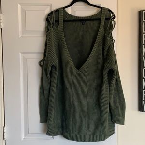 Olive green lace up sleeves